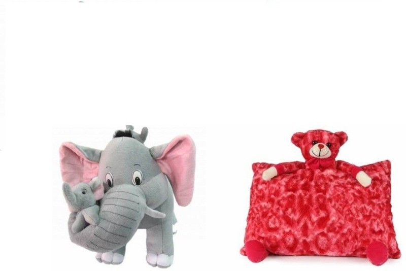 tajpur traders Mother Elephant With 2 Babies Soft Toy and Red pillow combo (Multicolor) - 32(Multicolor)
