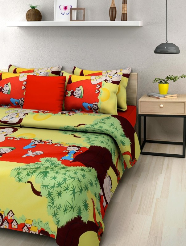 NC Creations 144 TC Polycotton Double King Printed Bedsheet(Pack of 1, Yellow)