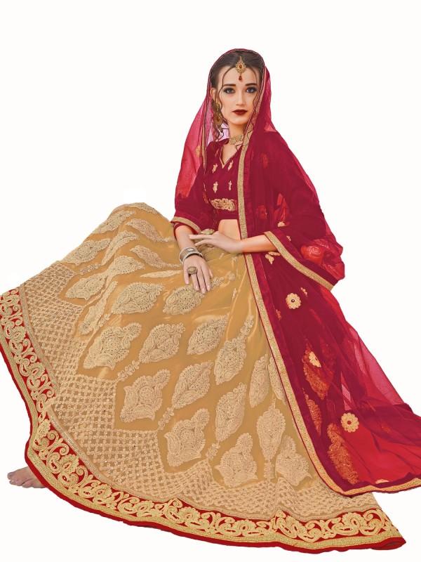 Aasvaa Embroidered Lehenga Choli(Beige)