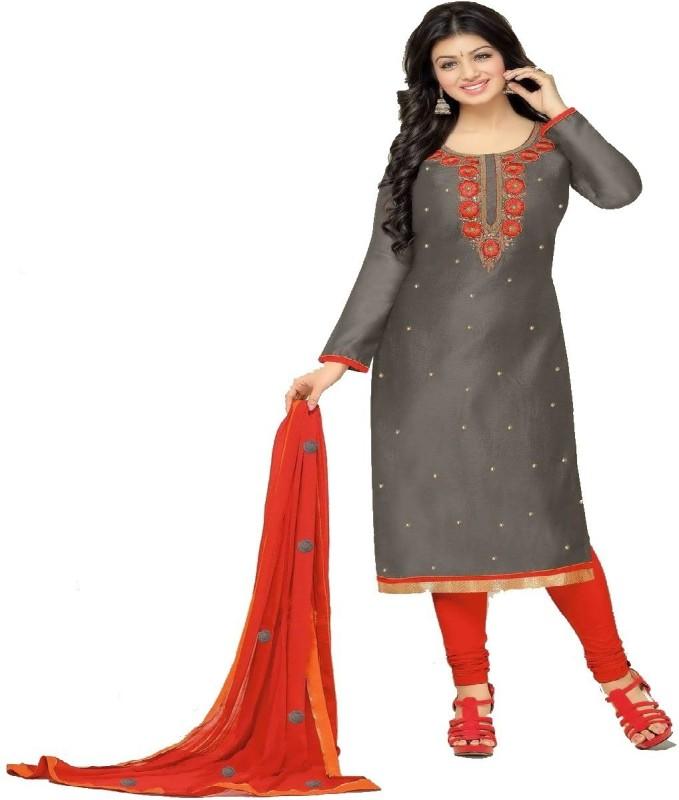 Sukhvilas Fashion Cotton Embroidered Salwar Suit Dupatta Material(Un-stitched)