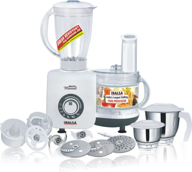 Inalsa Maxie Marvel 800 W Food Processor(White, Grey)