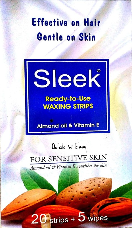 SLEEK Waxing Strips for Sensitive Skin ALMOND OIL & VITAMIN E (Pack OF 2) Strips(5 g)