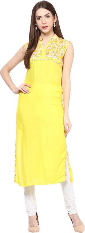 Krapal Casual Printed Women's Kurti(Yellow)