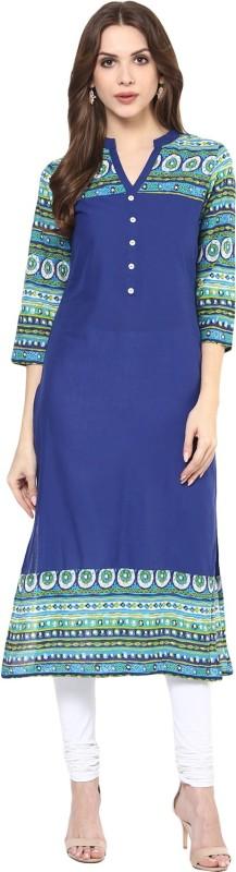 Krapal Casual Printed Women's Kurti(Blue)