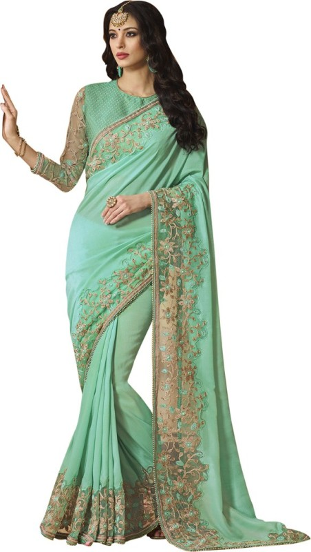 Saara Solid, Embroidered, Embellished Fashion Shimmer Fabric, Net Saree(Blue)