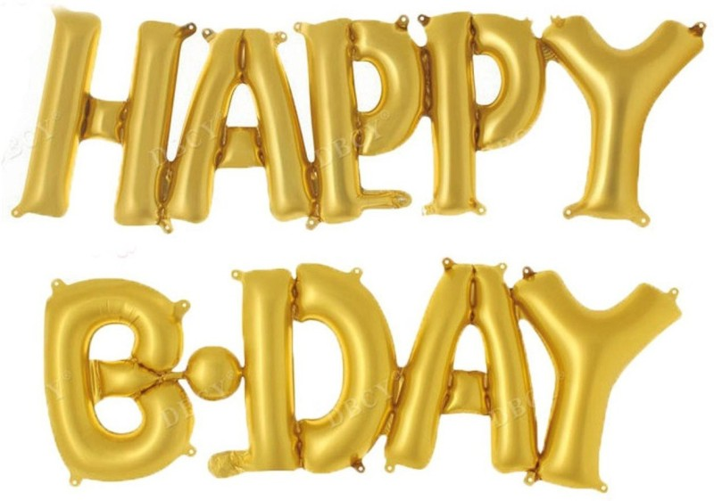Shop Online Golden Theme My Party Happy B-Day Foil Balloon (Gold) - 1 ml