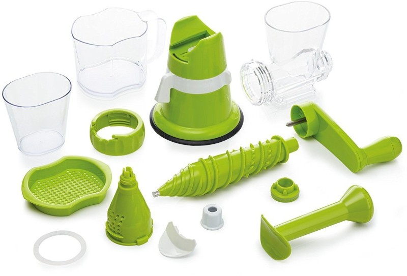 Wonder World ® Manual Hand Single Auger Fruits Cold Press Slow Juicer with Suction Plastic Hand Juicer(Green Pack of 1)
