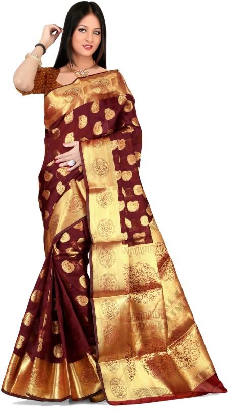 Jay Fashion Self Design Banarasi Silk, Art Silk Saree(Maroon, Gold)