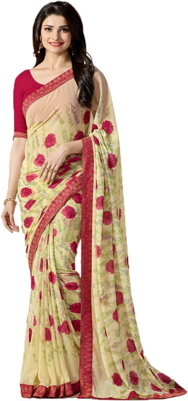 Bombey Velvat Fab Floral Print Daily Wear Georgette Saree(Multicolor)