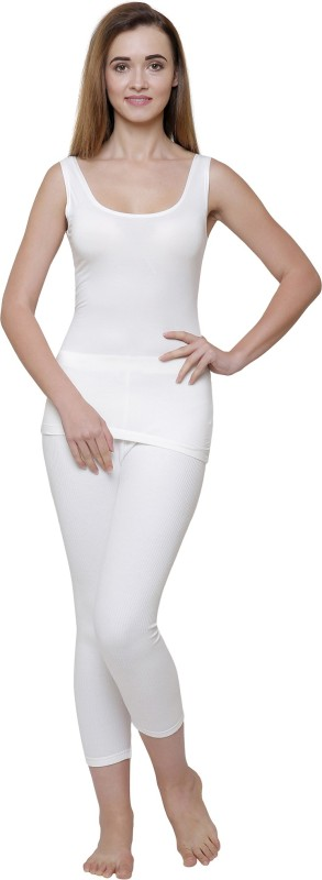 Ayaki Bodycare Off White Solid Thermal Womens Top