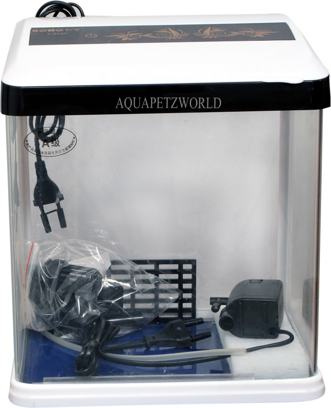 Aquapetzworld SOBO T-820F Aquarium Fish Tank(Blue,Black)-15Litre Cube Aquarium Tank(15 L)