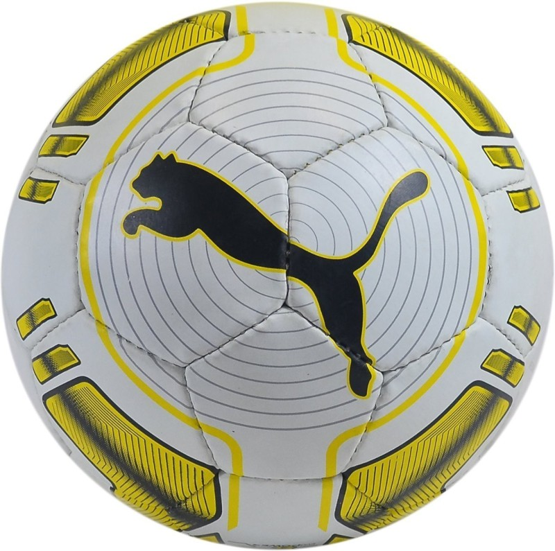 Puma EVO SPEED HARDGROUND 4 (WHITE/YELLOW) Football - Size: 5(Pack of 1, White, Yellow)