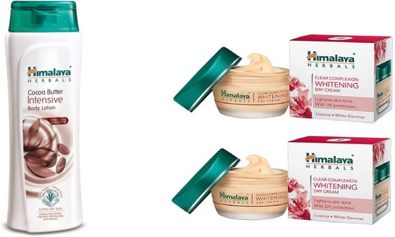 Himalaya coca butter intensive body lotion, clear complexion whitening day cream(Set of 3)