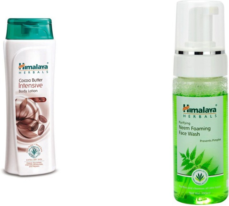 Himalaya coca butter intensive body lotion, purifying neem foaming face wash(2 Items in the set)