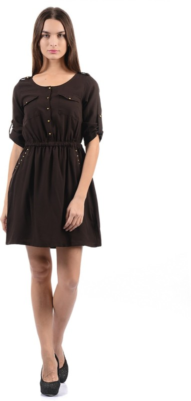 Flying Machine Women Fit and Flare Brown Dress