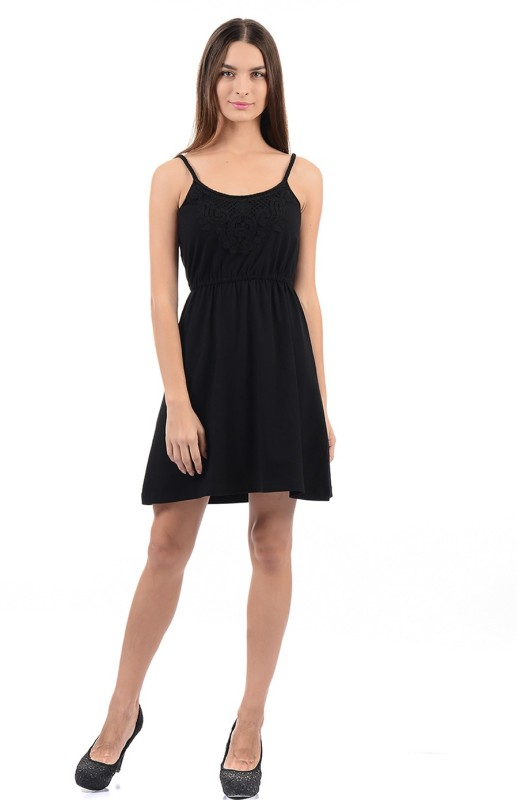 Flying Machine Women Fit and Flare Black Dress