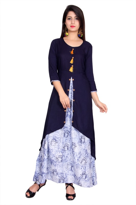 Metro Fashion Women Printed Frontslit Kurta(Blue)