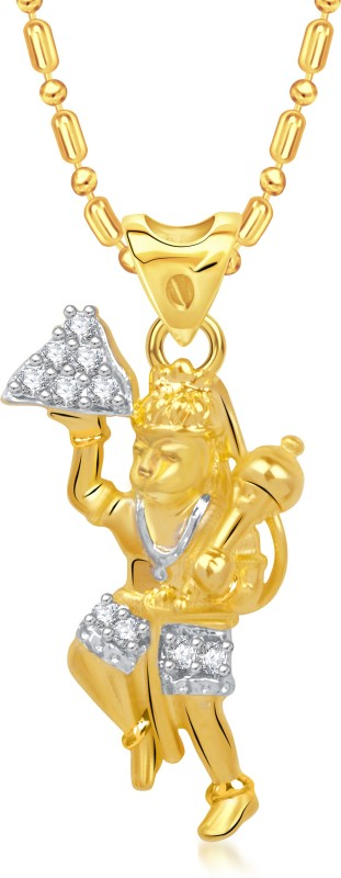 VK Jewels The Jai Hanuman Yellow Gold Cubic Zirconia Alloy Pendant