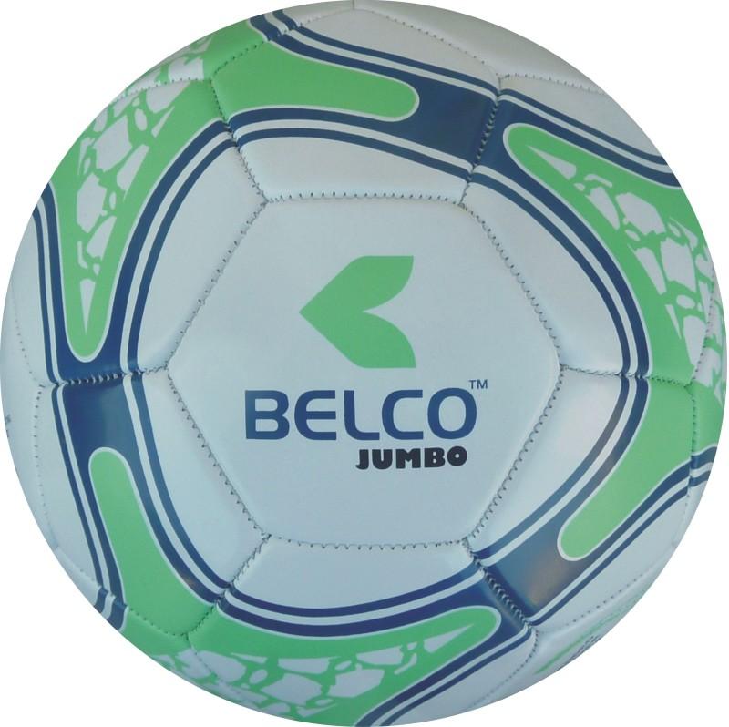 BELCO Jumbo 4(WHITE GREEN) Football - Size: 5(Pack of 1, White, Green)