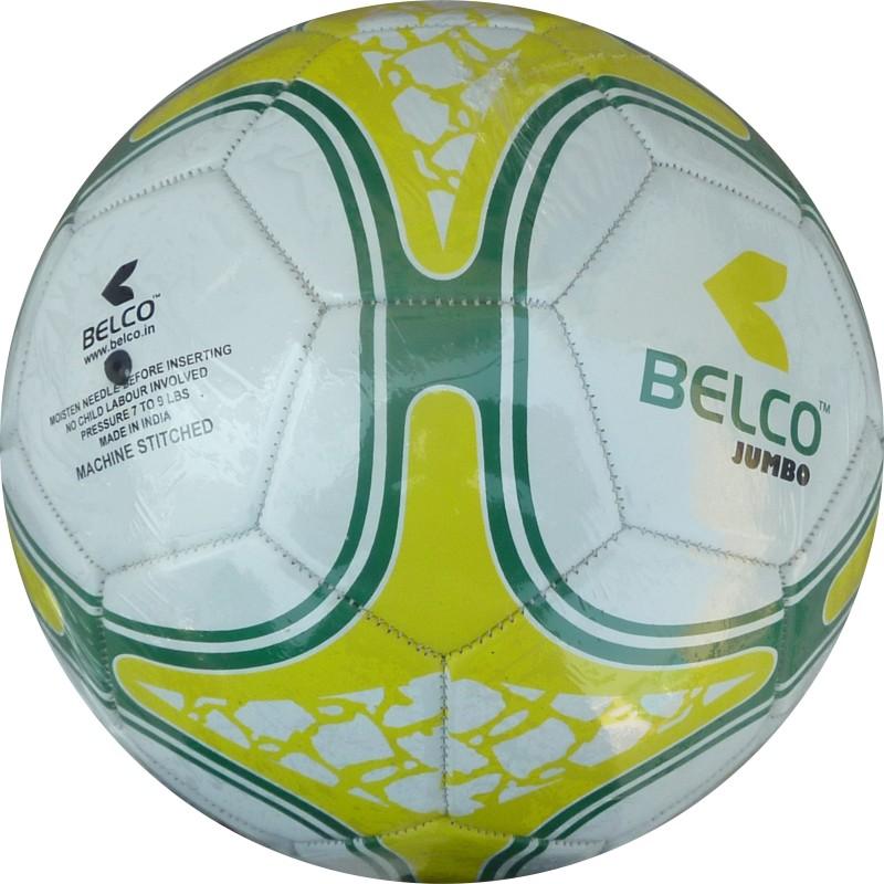 BELCO Jumbo 3(WHITE YELLOW) Football - Size: 5(Pack of 1, White, Yellow)