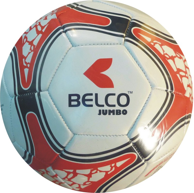 BELCO Jumbo 1(WHITE RED) Football - Size: 5(Pack of 1, White, Red)