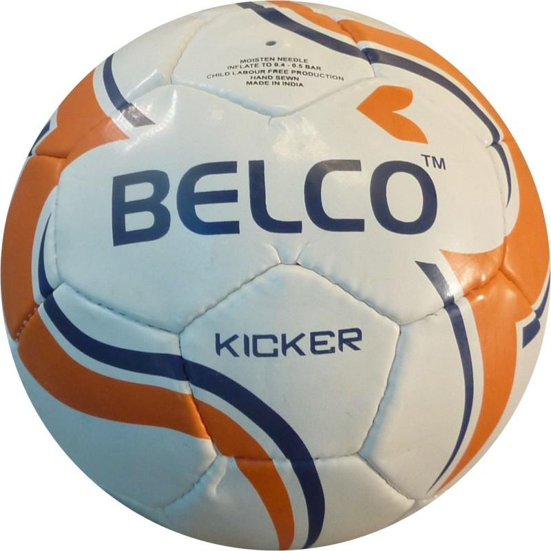 BELCO Kicker 3(WHITE ORANGE) Football - Size: 5(Pack of 1, White, Orange)