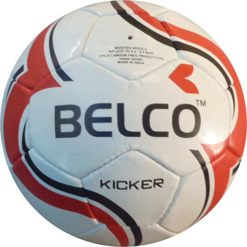 BELCO Kicker 1(WHITE RED) Football - Size: 5(Pack of 1, White, Red)