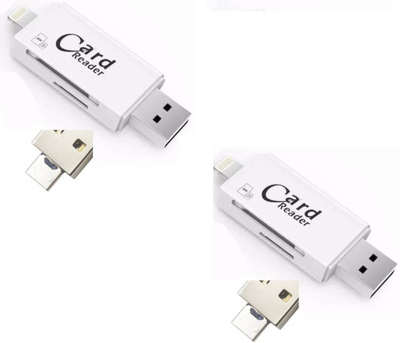ROQ Set of 2x 3 IN 1 With Lightning + USB + Mobile Flash Drive Card Reader(Multicolor)