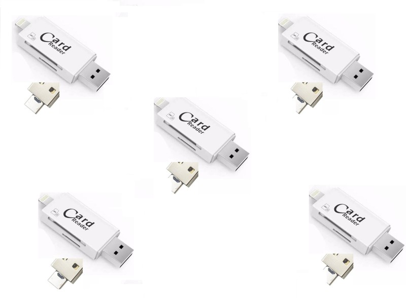 ROQ Set of 5x 3 IN 1 With Lightning + USB + Mobile Flash Drive Card Reader(Multicolor)