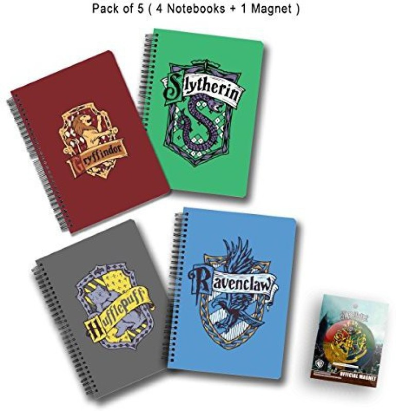 MC SID RAZZ A5 Notebook(Official Harry Potter Gift Set/Birthday Gift/Return Gift - Combo Pack of 5, Gryffindor No 1 Notebook + Slytherin Notebook + Ravenclaw Notebook + Hufflepuff Notebook + House Crest 3 Fridge Magnet with Bottle Opener, Licensed by Warner Bros,USA, Multicolor, Pack of 5)