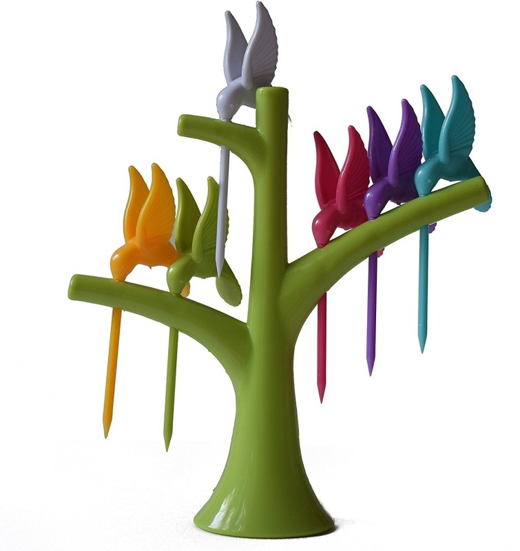 ALPYOG Birdie Fruit Fork Set Plastic Fruit Fork Set(Pack of 6)