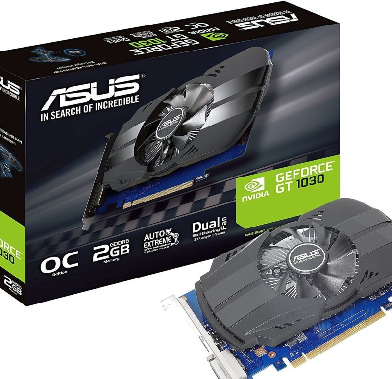 Asus NVIDIA PH-GT1030-O2G 2 GB GDDR5 Graphics Card(Black) image