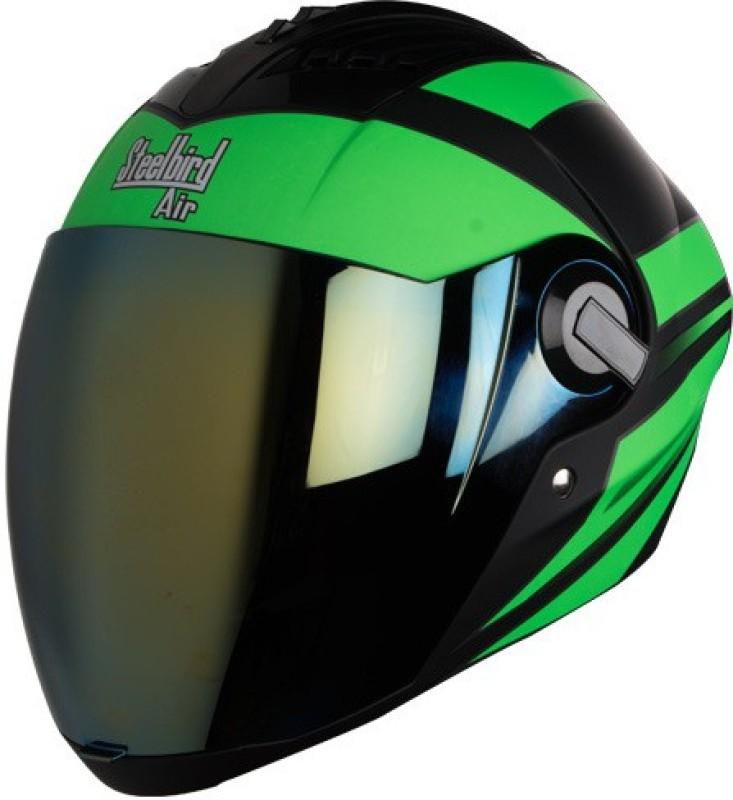Steelbird Yooshopper SBA-2 STREAK Matt Finish Motorbike Helmet(Black With Green)