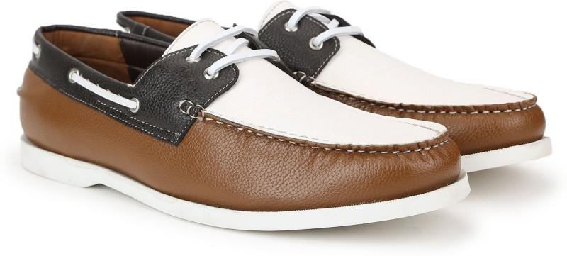 Carlton London Mr.CL Boat Shoes For Men(White, Tan)