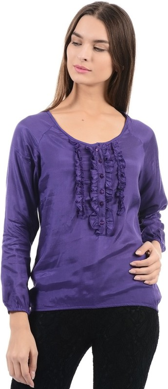 Flying Machine Casual Full Sleeve Solid Women's Purple Top