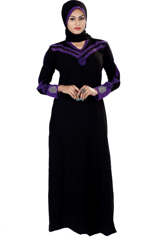 Viva N Diva 11213-Abaya Lycra Self Design Abaya With Hijab(Black)