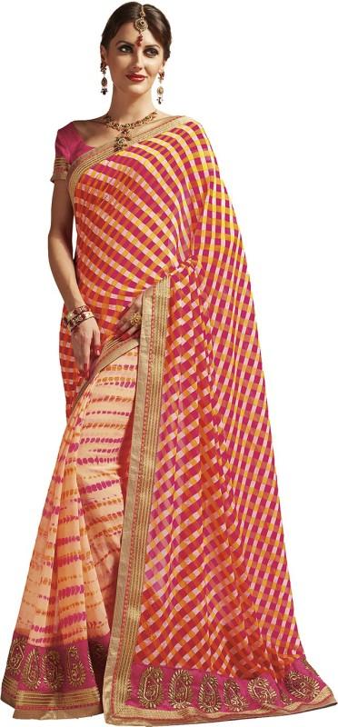 Viva N Diva Printed, Self Design Bandhej Georgette Saree(Beige, Pink)
