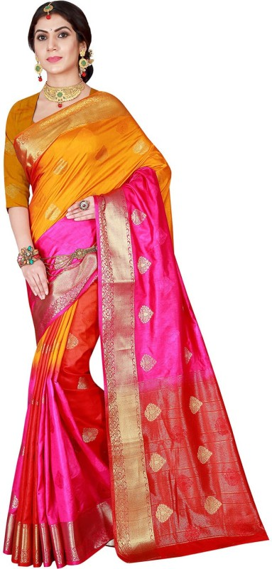 Viva N Diva Woven Banarasi Banarasi Silk Saree(Multicolor)