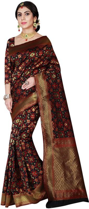 Viva N Diva Woven Patola Silk Saree(Black)
