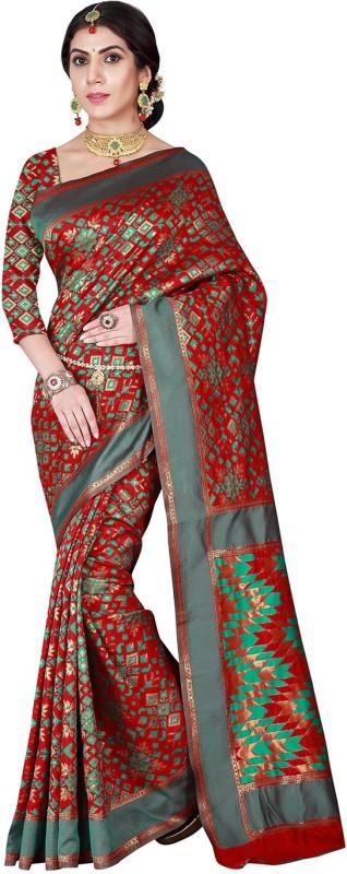 Viva N Diva Self Design Patola Silk Saree(Red, Green)