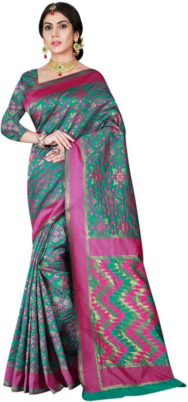 Viva N Diva Self Design Patola Silk Saree(Green, Pink)
