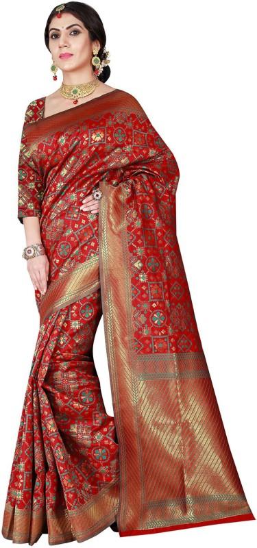 Viva N Diva Self Design Patola Silk Saree(Red)