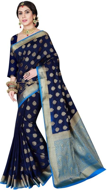 Viva N Diva Woven Banarasi Banarasi Silk Saree(Blue)