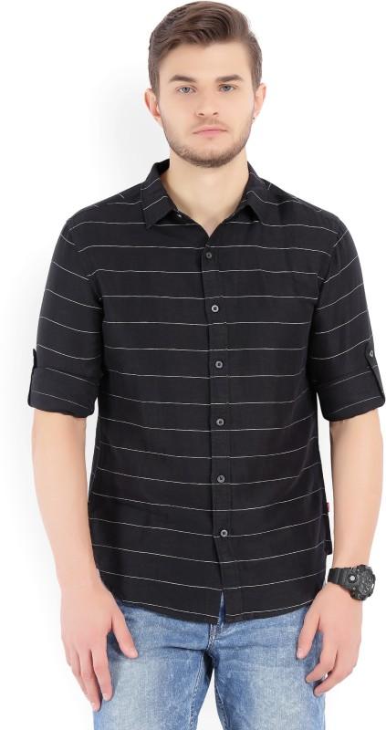 Levis Mens Striped Casual Black Shirt