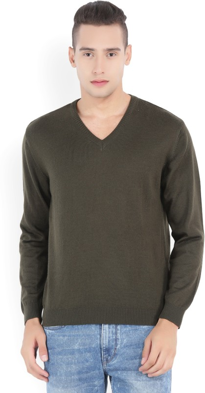 Wills Lifestyle Solid V-neck Formal Mens Dark Green Sweater