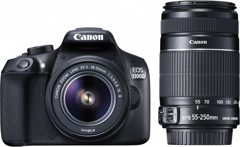 Canon EOS 1300D DSLR Camera Body with Dual Lens: EF-S 18-55 mm IS II + EF-S 55-250 mm F4 5.6 IS II (16 GB SD Card+ Camera Bag)(Black)
