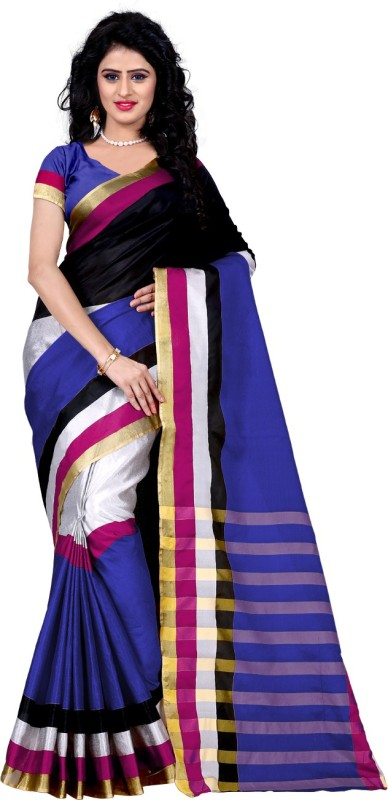 Trendz Style Striped Fashion Tussar Silk Saree(Blue)