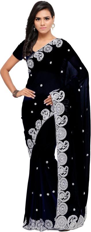 Aruna Sarees Embroidered Bollywood Chiffon Saree(Black)