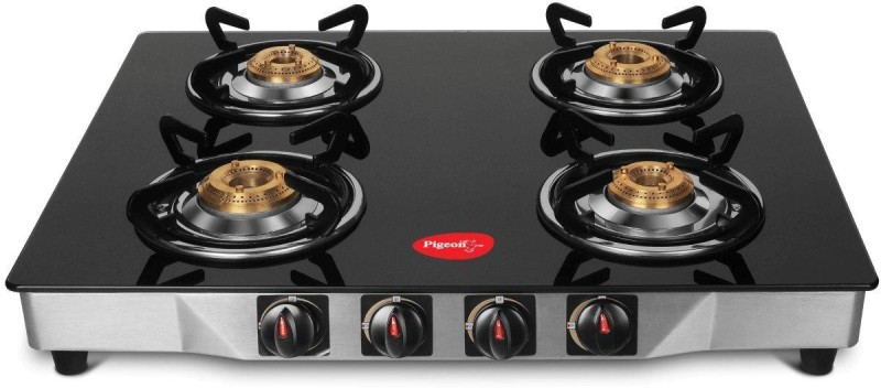Pigeon Sterling Blackline Glass top 4 Burner Steel Manual Gas Stove(4 Burners)