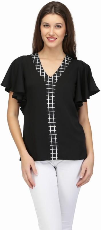 KARMIC VISION Casual Short Sleeve Printed Women's Black Top